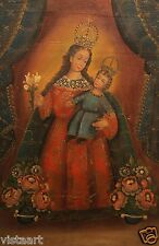 """Cuzco Religious Oil Painting Peruvian Folk Art 15x23"""" Crowned Madonna and Child"""