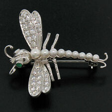 RARE Platinum Designer Dragonfly 0.75ctw Diamond & Emerald & Pearl Brooch Pin