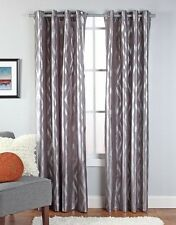 "Stanton 55"" X 84"" Faux Silk Metallic Print Grommet Panel Chrome Color"