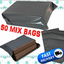 50 Plastic Grey Strong Mailing & Packaging Postal Bags Mixed Size FREE POSTAGE