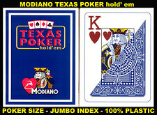 MODIANO PROFESSIONAL CASINO POKER BLACKJACK 100% PLASTIC PLAYING CARDS BLUECOLOR