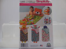 Simplicity Pattern 1389, Child's Nap Packs, Bear, Lion, Owl, Great for Gifting!