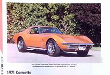 1971 Chevrolet Corvette LS6 LS5 LT1 info/specs/photo production numbers 11x8