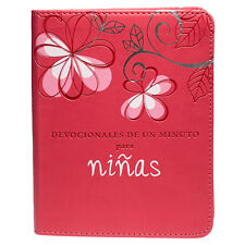 Minute Devotions for Girls SPANISH Pink Faux Leather Bible Scripture Christian