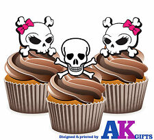 Gothic Skulls Pink Bow Birthday Party 12 Cup Cake Toppers Edible Decorations