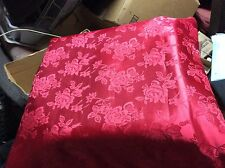 """Red Rose Satin brocade Jacquard Fabric, 60""""w, sold bty"""