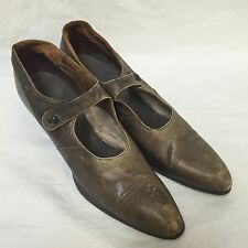 Friedman-Shelby Womens Shoes VTG 1910s-1920s Brown Leather Button Strap St Louis