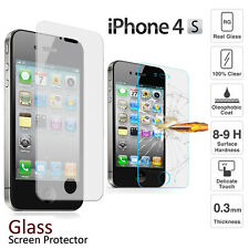 For iPhone 4 4S Original Tempered Real Glass Clear 9H Scren Protector Film Guard
