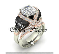 Two skull Vapor round solitaire sterling silver Wedding Engagement ring set-6
