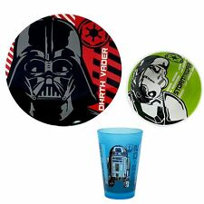 NEW melamine DISNEY 3pc STAR WARS plate DARTH VADER bowl R2D2 skid & BPA free **