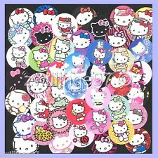 100 Precut assorted Hello Kitty GLOSSY BOTTLE CAP IMAGES Variety 1 inch discs