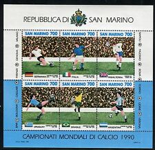 SAN MARINO 1990 MONDIALI CALCIO/WORLD FOOTBALL CHAMP./SOCCER/FLAGS souv.sheet