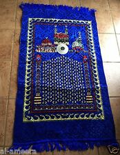 New Islamic Prayer Rug + Compass Mat Namaz Salat Musalah Blue Sejadah ~Free Ship