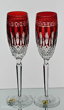 2 Waterford Clarendon Ruby Red Cut to Clear Crystal Wine Champagne Flutes New