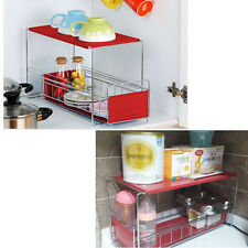 2 Tier Corner Sliding Shelf Counter Cabinet Organizer Kitchen Storage Red NEW