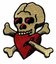 Tattoo Patch Skull with Heart Old School traditional Retro Rockabilly