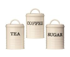 Set Of 3 Sketch Tea Coffee Sugar Storage Jar Canisters In Cream with Black Text