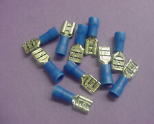10x 16-14 AWG Blue Insulated 1/4 Female Spade Connectors Fasteners Blades Wires