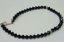 14k Yellow Gold Jewelry Clasp Findings Black Bracelet Sparkly Faceted Beads
