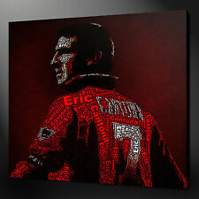 "ERIC CANTONA TYPOGRAPHY ART FOOTBALL PICTURE CANVAS PRINT 12""x12"" FREE UK P&P"