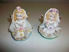 Lot 2 Vintage Spaghetti Made in Japan Hand Painted Angel Figurines