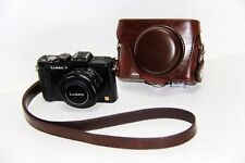 Leather Camera Bag Case Cover For Panasonic Lumix DMC LX5 LX7 LX3 Coffee