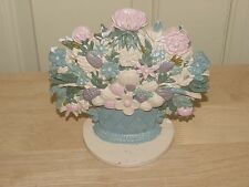 "Vintage Cast Iron Doorstop Flowers Bouquet Pink Tan Blue Basket Painted 7"" Tall"