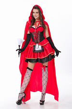 Little Red Riding Hood Halloween Costume Fancy Dress Long Cape Hen Party Outfit""