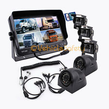 "4AV TRAILER CABLE 9"" MONITOR WITH DVR 5 x REAR VIEW CAMERAS BACKUP SYSTEM SAFETY"