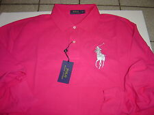 BIG MENS RALPH LAUREN HOT PINK W/SILVER LG PONY L/S POLO SHIRT SIZE 2XLT $110
