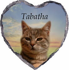 Pet Cat Photo Memorial Slate Plaque Personalised YOUR Picture & Text-Stands Incl