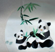 Framed & Signed Chinese Panda Silk Suzhou Embroidery bbc093