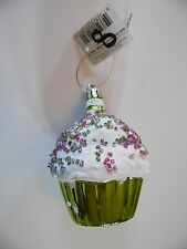 Chartreuse Green & White Bead Sprinkles Cupcake Christmas Ornament Decoration