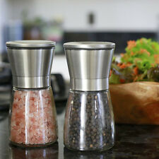 Stainless Steel Brushed Salt Mill Pepper Grinder Bottle With Glass Bottle New