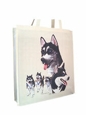 Siberian Husky Group Cotton Shopping Bag Tote Gusset Long Handles Perfect Gift