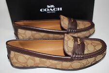 NIB COACH Size 8 Women's Khaki Jacquard SIG C Chestnut Calf Leather PENNY Loafer