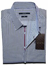 "GUCCI Stripe Web Selvage Slim Fit Dress Shirt, Navy/White 15"" ITALY $465"