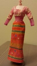 Cute Long Dress for Barbie Long Sleeve Pink Orange Ethnic
