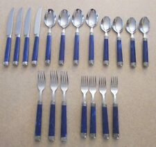 *19 Pcs EME 18/10 Italy Stainless Steel Flatware *Arcadia Cobalt Blue