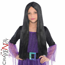 Black Long Classic Witch Wig Halloween Girls  Kids Fancy Dress Costume New