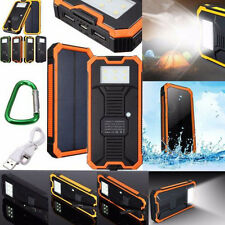 Orange 100000mAh Solar Power Bank Dual USB 6 LED Battery Charger For Smart Phone