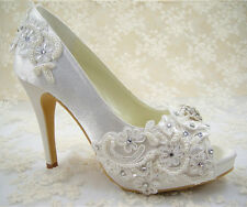 Handmade Ivory Rhinestone Lace Bridal Shoes High Heel Satin Wedding Shoes UK3-8