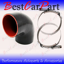 "BLACK Silicone 90 Degree Elbow Coupler Hose 4"" 102 mm + T-Bolt Clamps Chy"