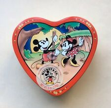 Vintage Heart Shaped Disney Mickey Mouse &Minnie Mouse Tin Box Company Stamped