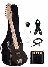 "NEW Raptor EP-3 Kid's 30"" BLACK Electric Guitar Pack w/ 3W Amp, Gig Bag, Strap"