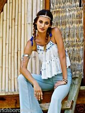 Free People Magic Power Crinkly Embroidered Tank Crop Top white blue NWT $128 S