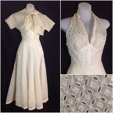 Vintage 30s 40s Ivory Lace Fit and Flare Halter Party Dress Bolero Top Blouse XS