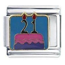 21st HAPPY BIRTHDAY CAKE - Daisy Charms Fits Classic Size Italian Charm Bracele