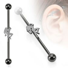 One 316L Surgical Steel Black IP Sexy Dancer Industrial Barbell 14GA