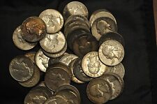 MIXED ROLL OF CIRCULATED 90% SILVER WASHINGTON QUARTERS-VARIOUS DATES 1939-1964